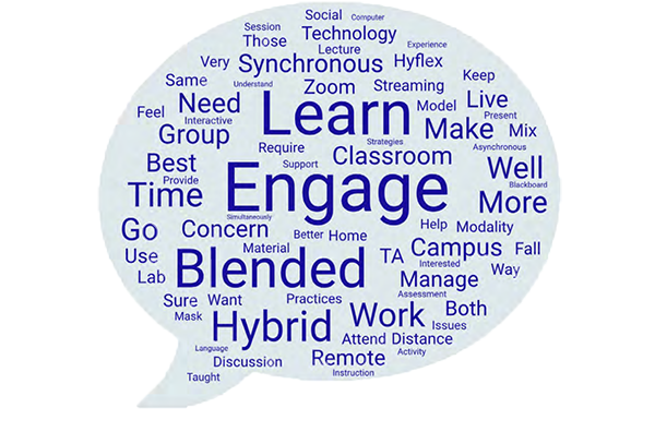 Learn, Engage, Blended, Hybrid - word cloud